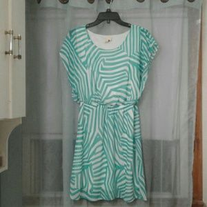 Needle & Thread Teal and White Zebra Print Dress